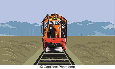 高く, ディーゼル, 列車, 角度, レトロ