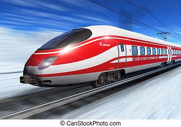 高く, 列車, スピード, 冬
