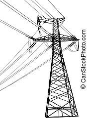 高く, 線, 電圧, 電気である