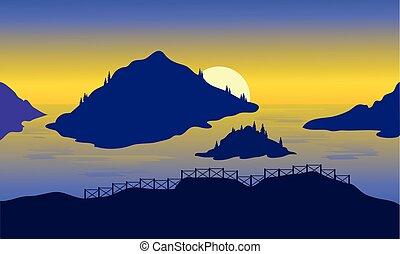 高地, 光景, 海, 夜