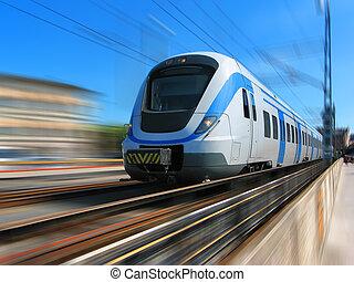 高速, 動き, 列車, ぼやけ