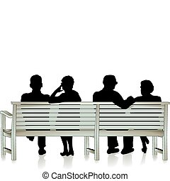 高齢者, 公園のベンチ