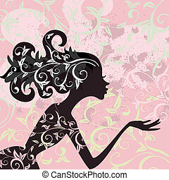 魅力, 毛, 女の子, 装飾