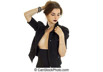 魅力, 自然, 若い, 大きい, トップレスで, 胸, ジャケット, 黒人の少女, 見ること