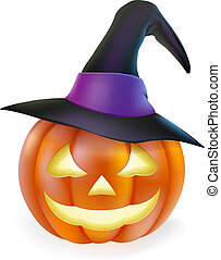 魔女, ハロウィーン, 帽子, カボチャ
