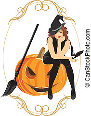 魔女, フレーム, ハロウィーン, pumpkin.