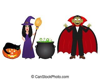 魔女, ランタン, ハロウィーン, カボチャ, 一服, 白