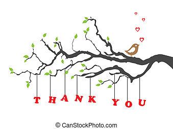 鳥, あなた, 感謝しなさい, カード, 挨拶