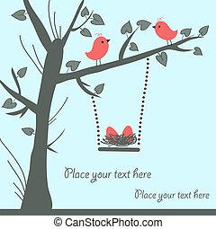 鳥, カード, ベクトル