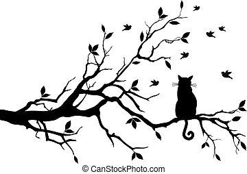 鳥, ベクトル, 木, ねこ