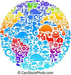 鳥, 作られた, 動物, アウトライン, アイコン, 地球, 花
