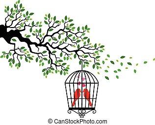 鳥, 漫画, シルエット, 木