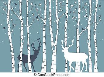 鹿, シラカバ, ベクトル, 木