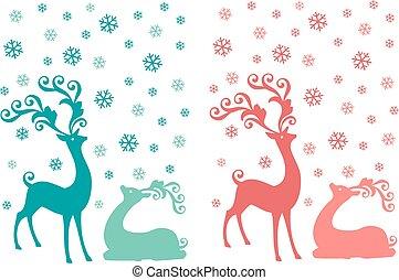 鹿, ベクトル, セット, クリスマス