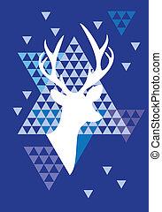 鹿, 三角形, クリスマス, パターン
