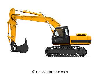 黄色, 隔離された, 掘削機
