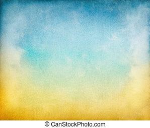 黄色, 雲, 青