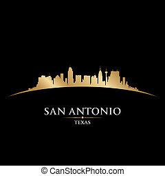 黒い背景, san, スカイライン, 都市, antonio, シルエット, テキサス