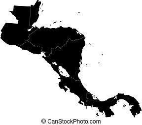 黒, アメリカ, 中央である, 地図