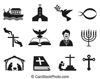 黒, セット, キリスト教徒, 宗教 アイコン