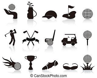 黒, セット, ゴルフ, アイコン