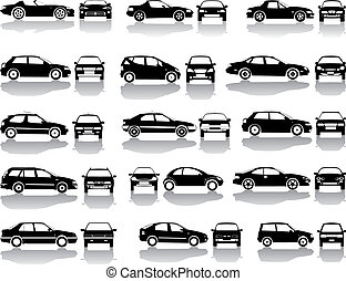 黒, セット, ベクトル, 自動車