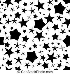 黒, パターン, seamless, 星