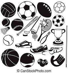 黒, ベクトル, スポーツ, ボール, アイコン
