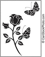 黒, ベクトル, デザイン, 花