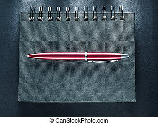 黒, ペン, メモ用紙, らせん状に動きなさい, 背景