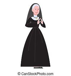 黒, 修道女, ベクトル, イラスト, 伝統的である, 身に着けていること, カトリック教