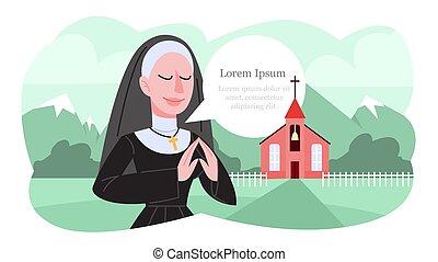 黒, 修道女, clothes., ベクトル, イラスト, 祈ること, 伝統的である, カトリック教