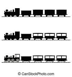 黒, 列車, ベクトル, シルエット, イラスト