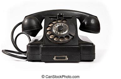 黒, 古い, かく, 電話, ほこり