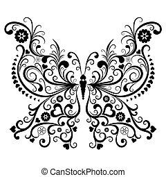 黒, 型, 蝶
