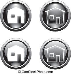黒, 家, ボタン