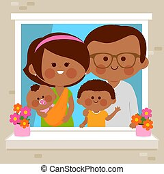 黒, ∥(彼・それ)ら∥, 家, ベクトル, 家族, イラスト, 窓。, 見る, 幸せ, から