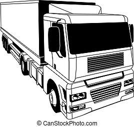 黒, 白, トラック, 半