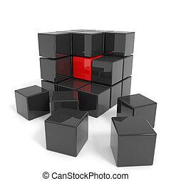 黒, 立方体, core., 組み立てられた, 赤