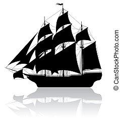 黒, 船, 古い