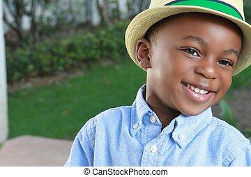 黒, 若い少年, 流行, 帽子, ウエア