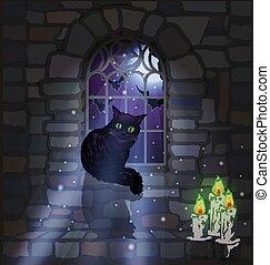 黒, 華やか, 蝋燭, ねこ, 背景, ベクトル, 窓, イラスト, gothic