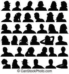黒, 頭, ベクトル, シルエット, 人々
