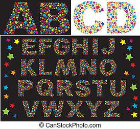 -, アルファベット, 作られた, 手紙, mult