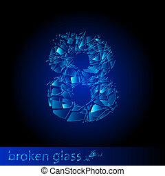 -, ディジット, 8, 壊れたガラス