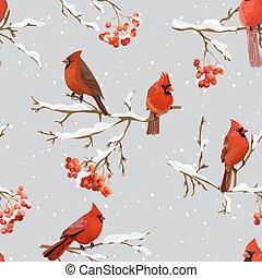 -, パターン, ベクトル, ナナカマド, 鳥, ベリー, 背景, 冬, レトロ, seamless