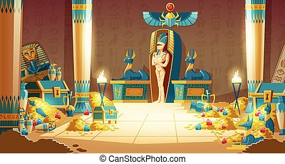 -, ベクトル, エジプト人, 石棺, pyramid., ファラオ, 漫画, 墓