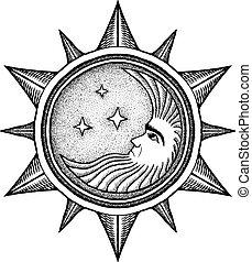 -, ベクトル, 定型, 彫版, 星, 月, イラスト
