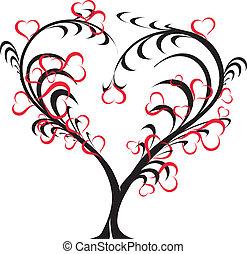 -, ベクトル, 愛, 木
