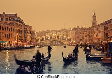 -, ベニス イタリア, rialto 橋